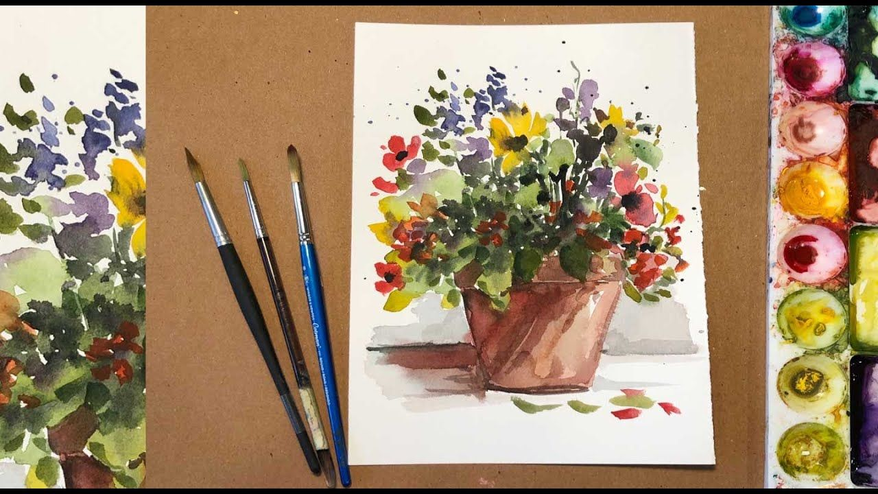 Watercolor Painting For Beginners Loose Flowers In A Pot Easy