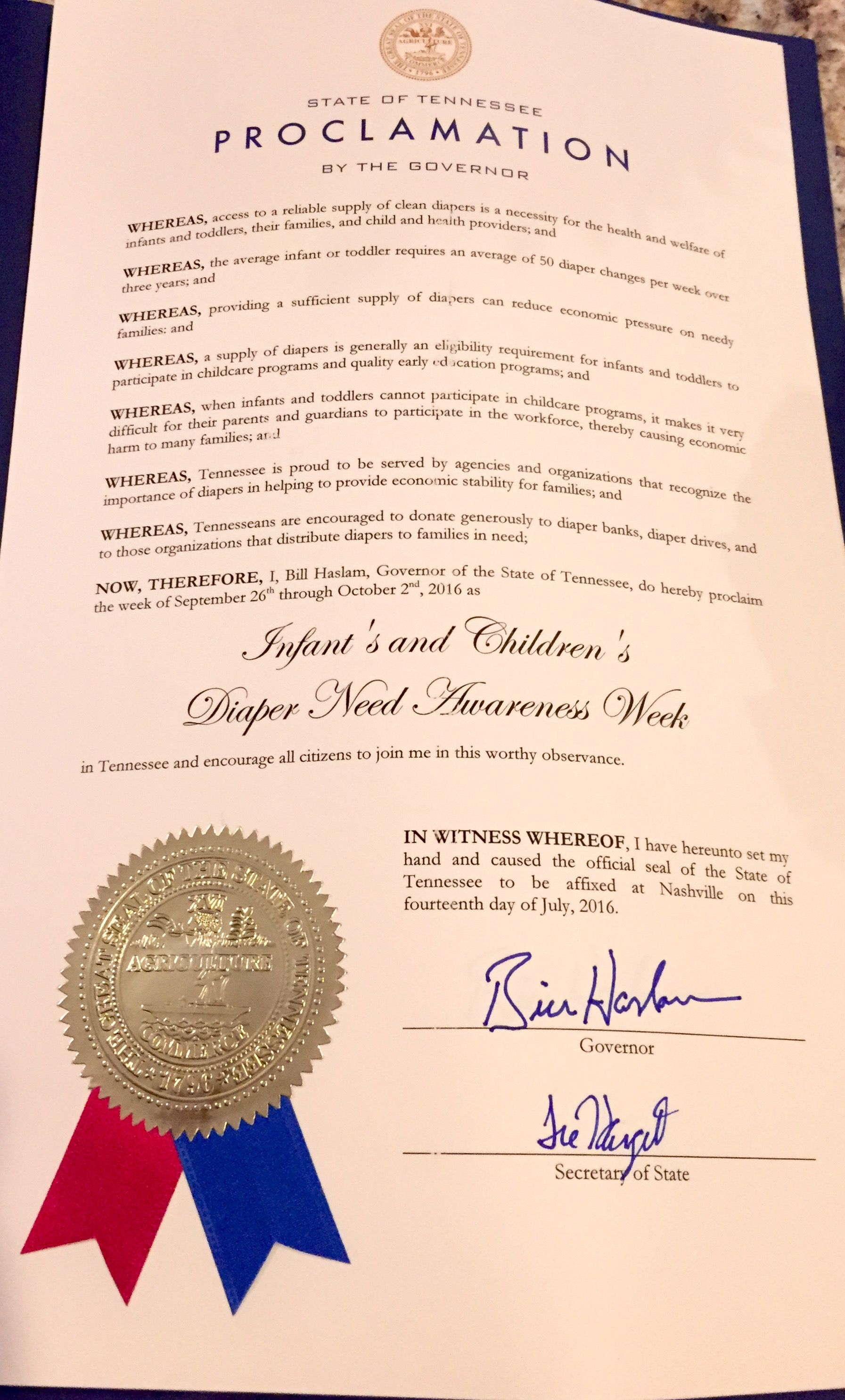 Tennessee Governor Bill Haslam's proclamation recognizing Diaper Need Awareness Week (Sept. 26 - Oct. 2, 2016) #DiaperNeed www.diaperneed.org