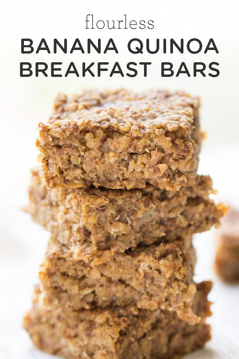 Bound to be your new favorite breakfast food! Try this easy flourless banana quinoa breakfast bars recipe! They're healthy, made with oatmeal, vegan, and great for kids. YUM!