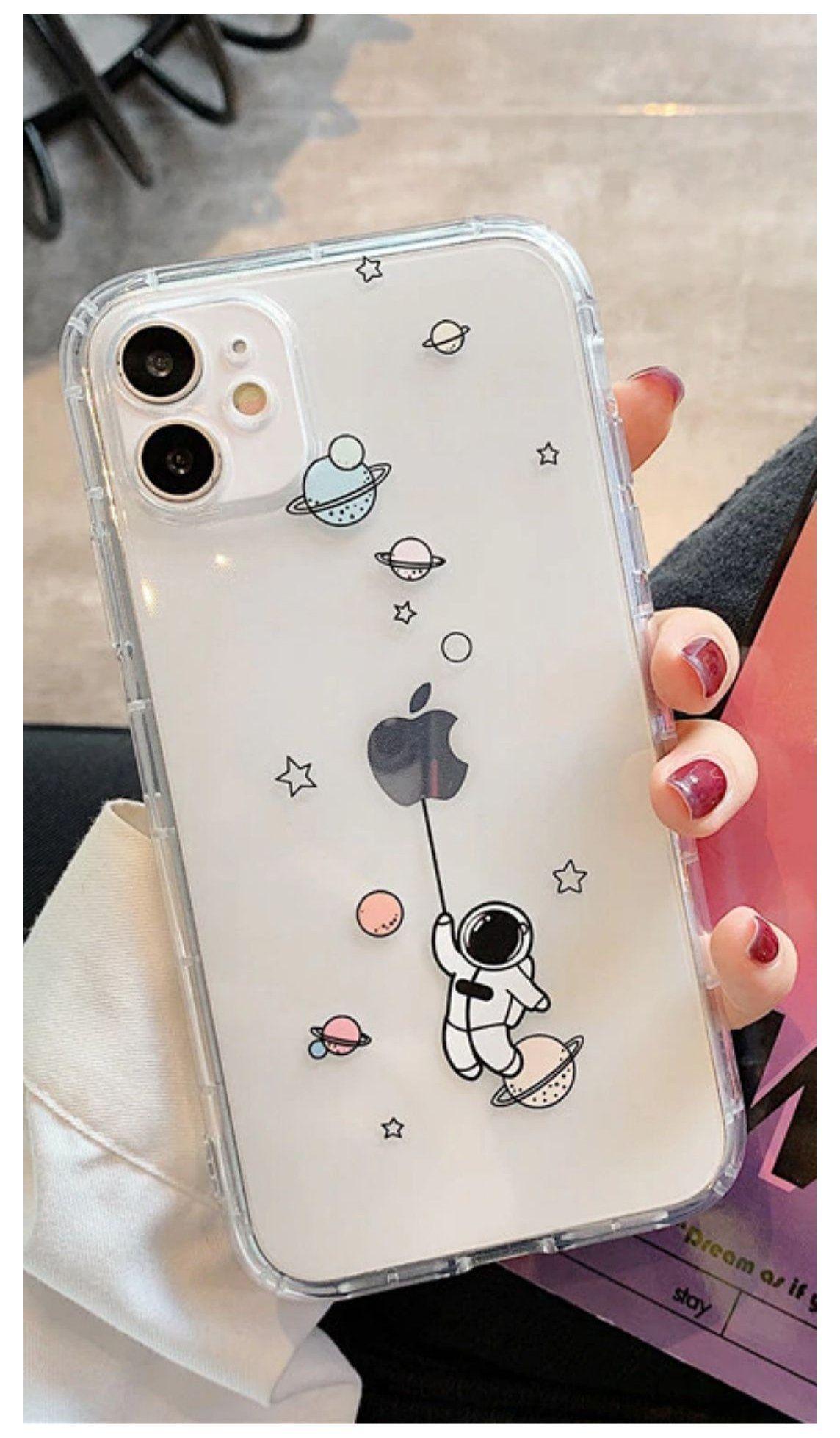 Cute Cartoon astronaut Space Transparent Phone case For iPhone 11 ...