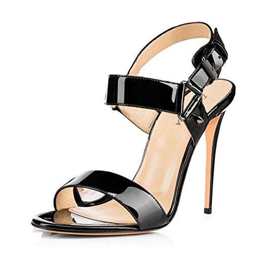 84753df6d7a971 L YC Frauen High Heels Lackleder Schnalle Sandalen Rot   Blau   Schwarz    aprikose