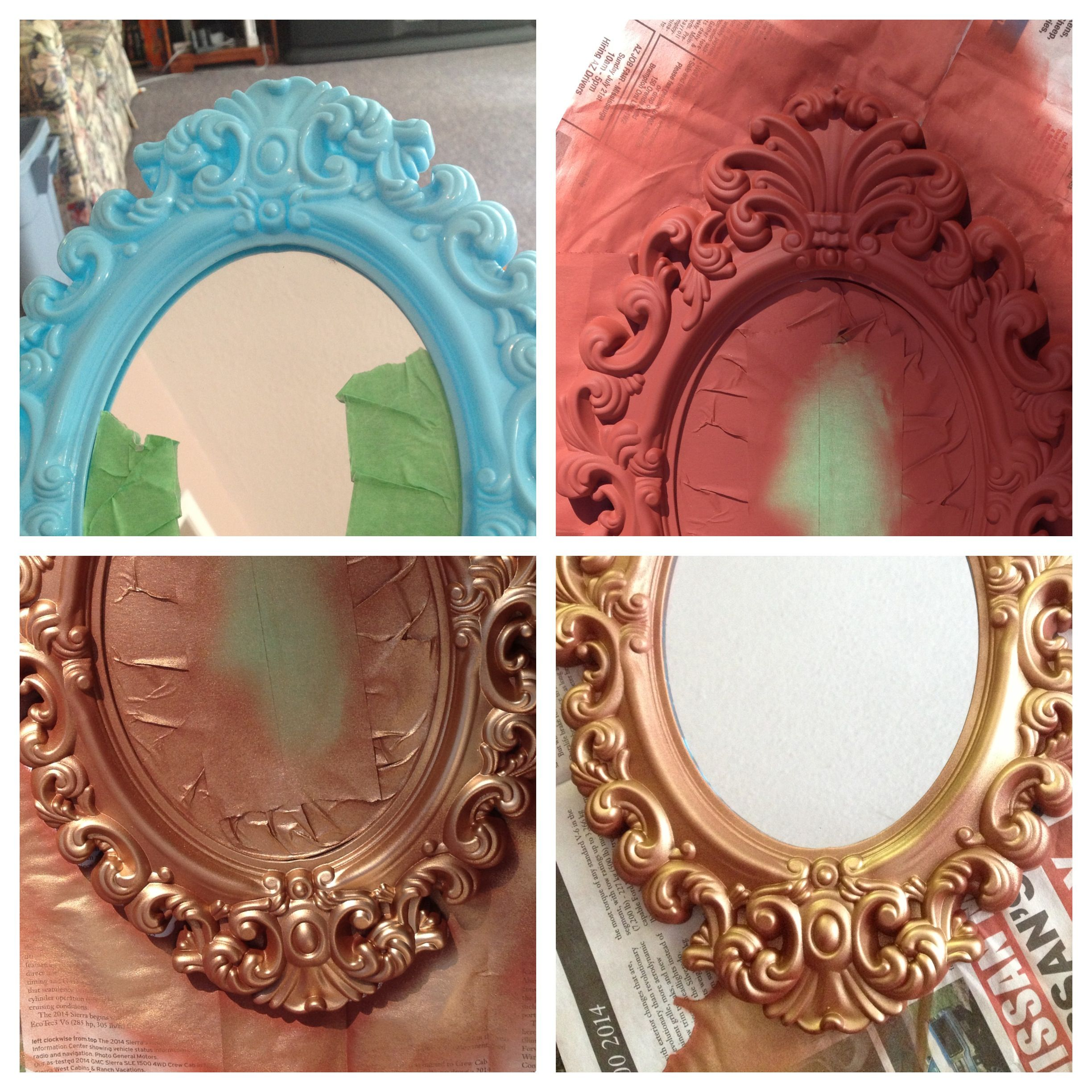 Cheap mirror project 1 buy dollar store mirror 2 spray with matte base coat of your choice for Cheapest place to buy interior paint