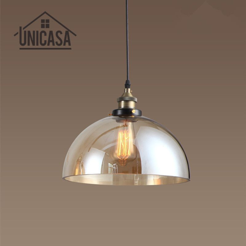 Amber Glass Shade Pendant Lights Antique Large Lighting Fixtures