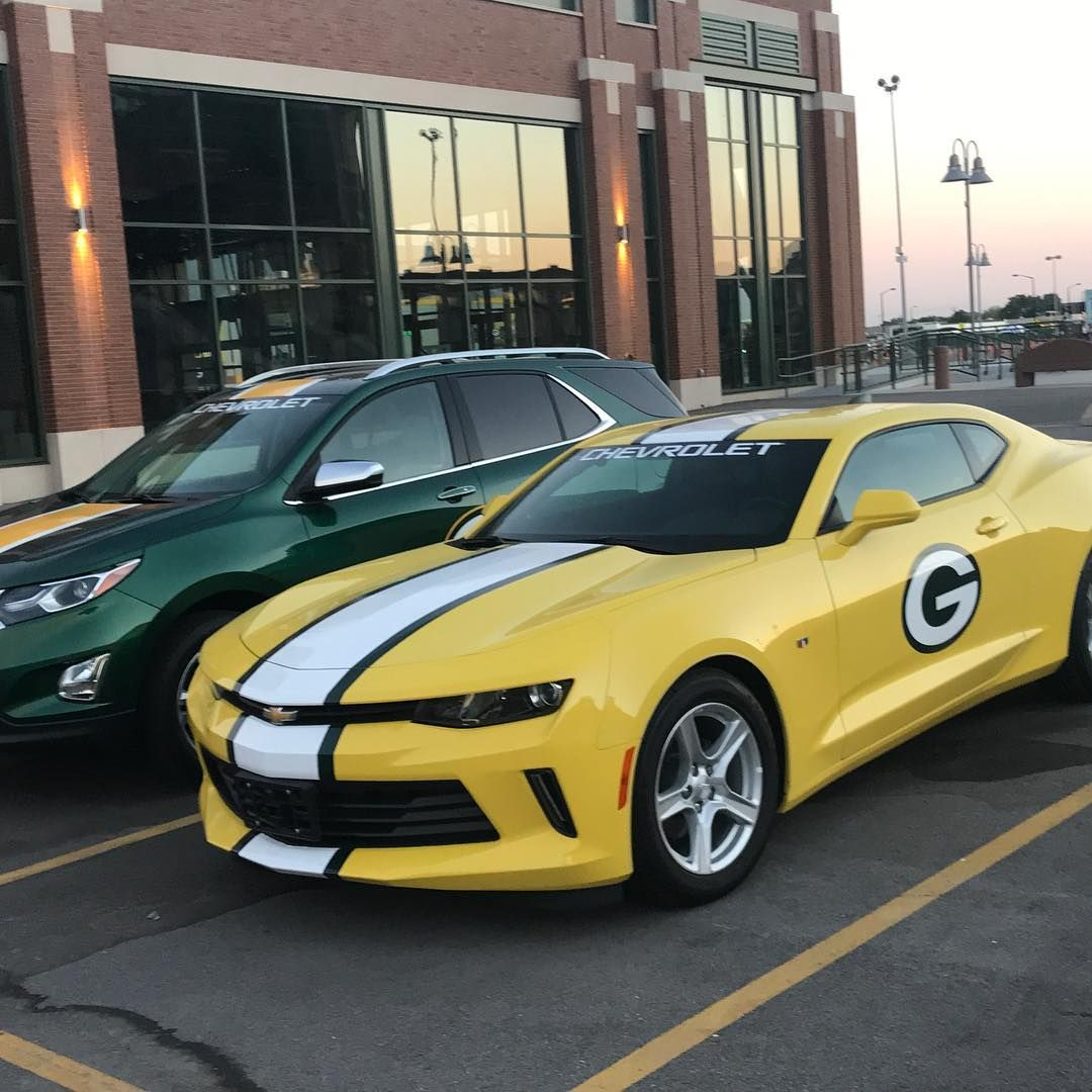 Chevrolet Brought Some Specially Designed Packers Cars To Lambeaufield In Greenbay Nfl Lambeau Field Specially Designed Chevrolet