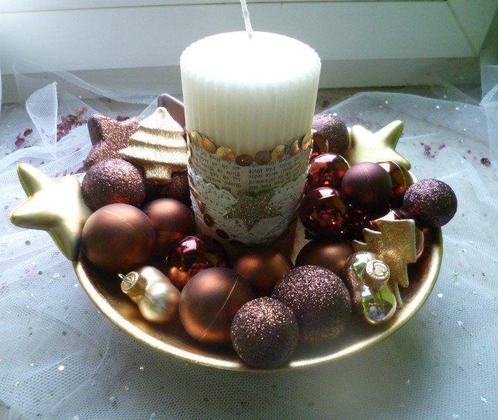 Weihnachtsdeko Gold Braun.Weihnachtsdeko Weihnachtsgesteck In Braun Und Gold Ein