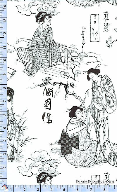 Silhouettes - Black and White Asian Toile by Ro Gregg    ORI-geishas-M364  Silhouettes - Black and White Asian Toile by Ro Gregg  100% cotton, quilting weight fabric  Northcott 3263-99