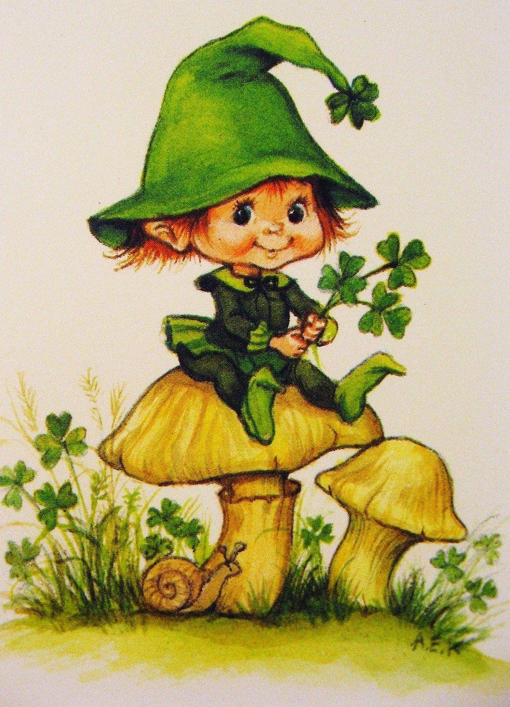 elfo en seta | dibujo | Pinterest | Elfo, Setas y Laminas infantiles