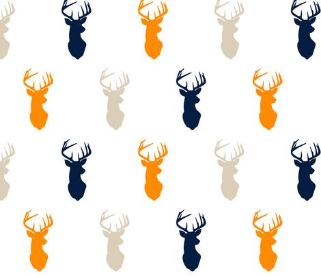 multi buck    navy tan orange fabric by littlearrowdesign on Spoonflower - custom fabric
