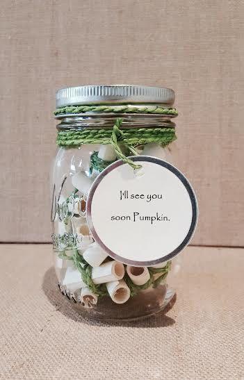 Message Filled Mason Jar Deployment Gift Long Distance I Miss You Just Because Mason Jar Gifts Mason Jars Love Jar