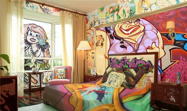 Vivacious Teenage Boy Bedroom Decorations with Street Graffiti Wall Art