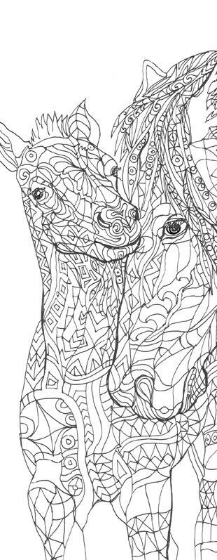 Coloring Pages Printable Adult Book Horse Clip Art Hand Drawn Original Zentangle Colouring Page For