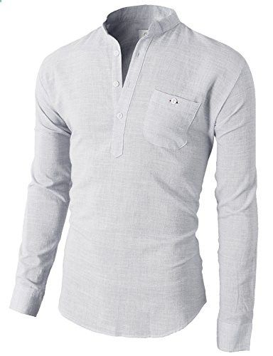 H2H Mens Casual Henley Button-down Slim Fit Roll-up Sleeve Shirt ...