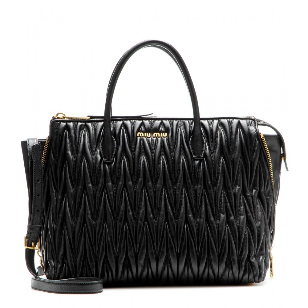 Miu Miu - Matelassé leather tote - Texture at its most ladylike, there's nothing not to love about Miu Miu's matelassé leather tote. Kept classic in coal black, the gold-toned zippers at each side make it super modern. Carry it in the crook of your arm for covetable results. seen @ www.mytheresa.com