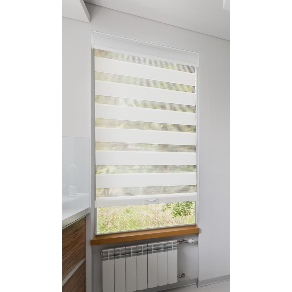 39 In W X 72 In L Cordless White Zebra Roller Shade Privacy Light Filtering With Valance Cwzs3972 The Home Depot In 2020 Zebra Blinds Zebra Shades Roller Shades