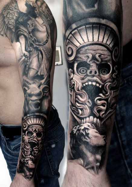 Realistic Full Sleeve Black Grey Style Check Our Website To See More Contact Us Www Pitbulltattoothai Tattoos For Guys Tattoo Sleeve Designs Elbow Tattoos