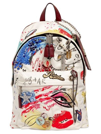 MARC JACOBS - EMBELLISHED COTTON CANVAS BACKPACK - LUISAVIAROMA - LUXURY SHOPPING WORLDWIDE SHIPPING - FLORENCE