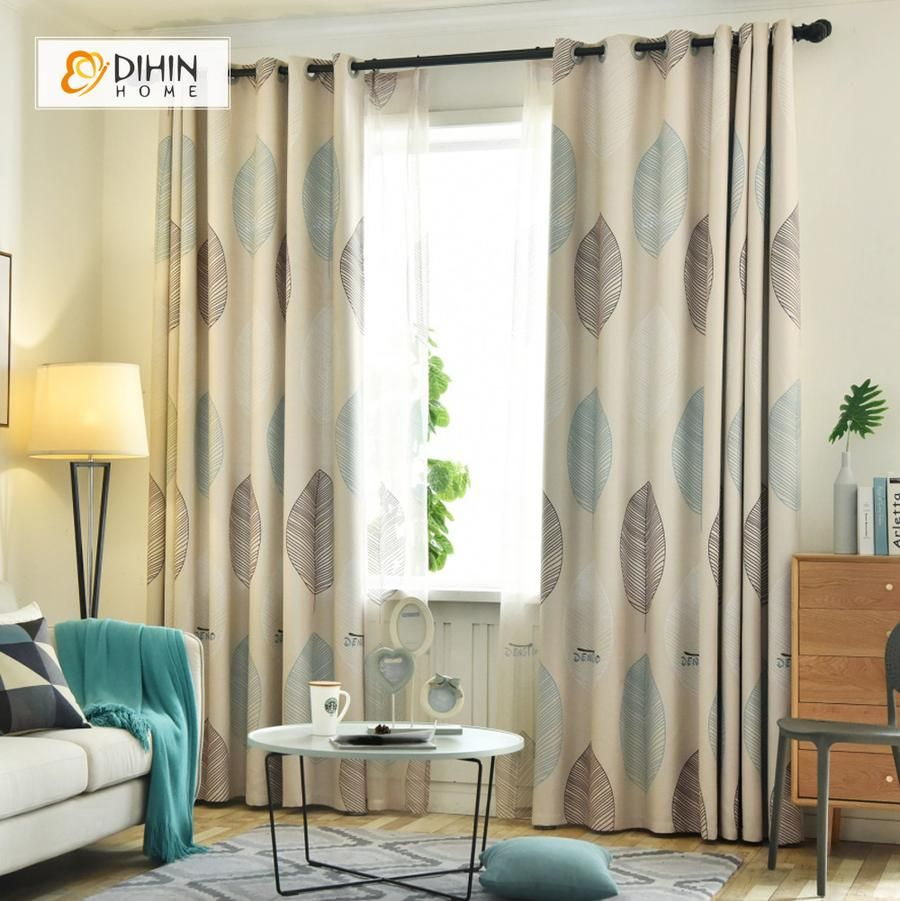 Dihin Home Brown And Blue Leaves Printed Blackout Grommet Window Curtain For Living Room 52x63 Inch 1 Panel Curtains Living Room Brown Living Room Decor Brown Living Room #print #curtains #living #room