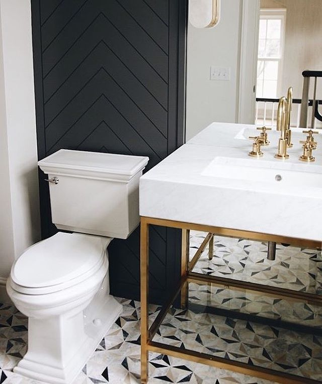 Powder Room Herringbone Wood Accent Wall Modernbathroomaccentwall Black Powder Room Powder Room Vanity Bathroom Accent Wall
