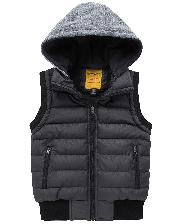 Boy S Hooded Puffer Fleece Vest Warm Sleeveless Thick Jacket Dark Gray C518gecqza3 Thick Jackets Fleece Vest Jackets [ 1500 x 1200 Pixel ]