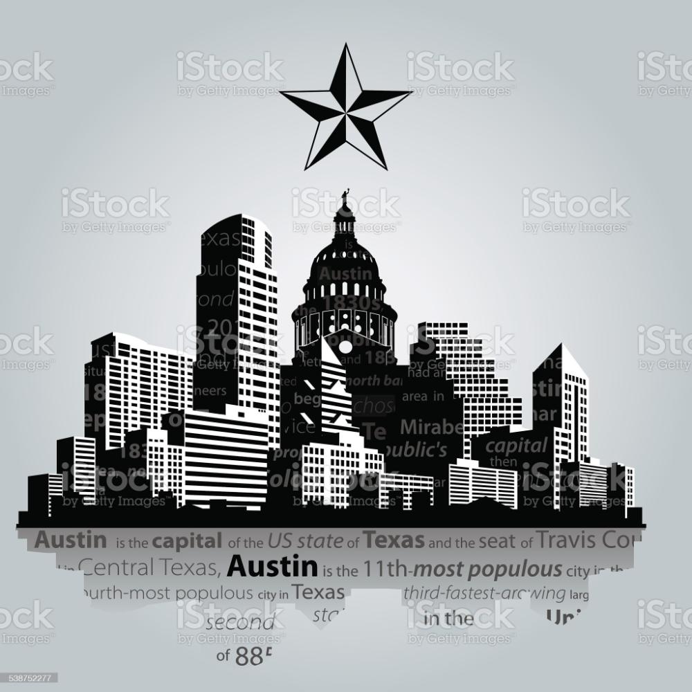 Vector Austin City Capital Of Texas Silhouette Texas Silhouette Austin Texas Skyline City