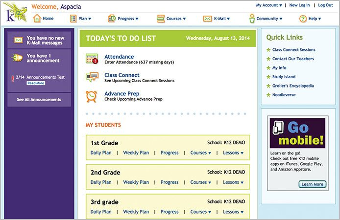 K12 OLS Homepage Screen with multiple kids | School at home