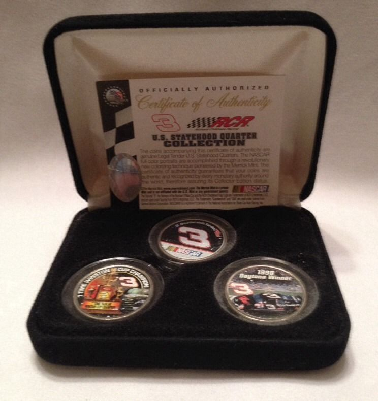 50db51d32e9 Rare Vintage DALE EARNHARDT SR Nascar 3 COLORIZED QUARTER   Boxed COIN SET  OF 3