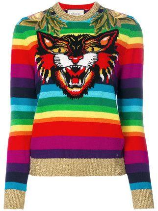 0e8818b3e Gucci rainbow tiger jumper | Outfit in 2019 | Woolen tops, Gucci ...