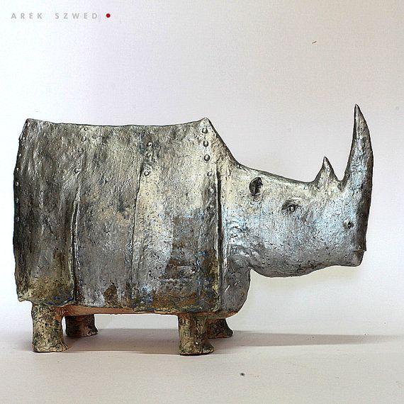 The Silver Rhino / Ceramic Sculpture / Unique Figure от arekszwed