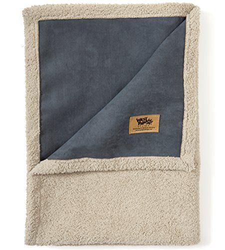 West Paw Design Big Sky Faux Suede Silky Soft Pet Throw Blanket Storm Blue Medium Dog Blanket