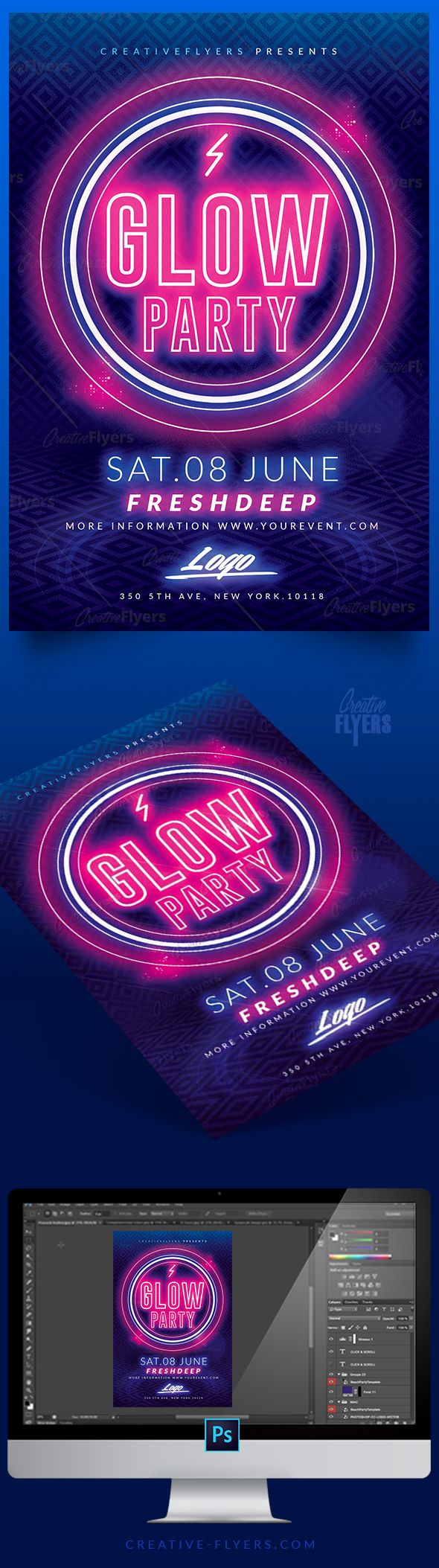 download glow party flyer template psd for photoshop 80 s