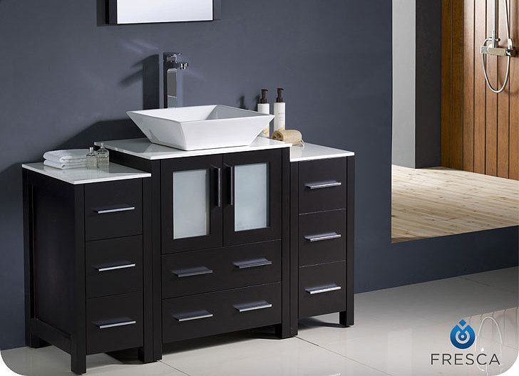 1 424 00 Torino 48 Inch Modern Vessel Vanity Fvn62 122412es Vsl By Fresca Bathroom Sink Vanity Single Sink Vanity Bathroom Vanity Tops