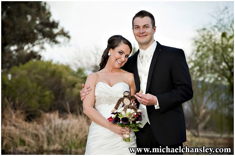 Bride And Groom Pose For A Formal Portrait At La Mariposa Resort Wedding Venue In Tucson
