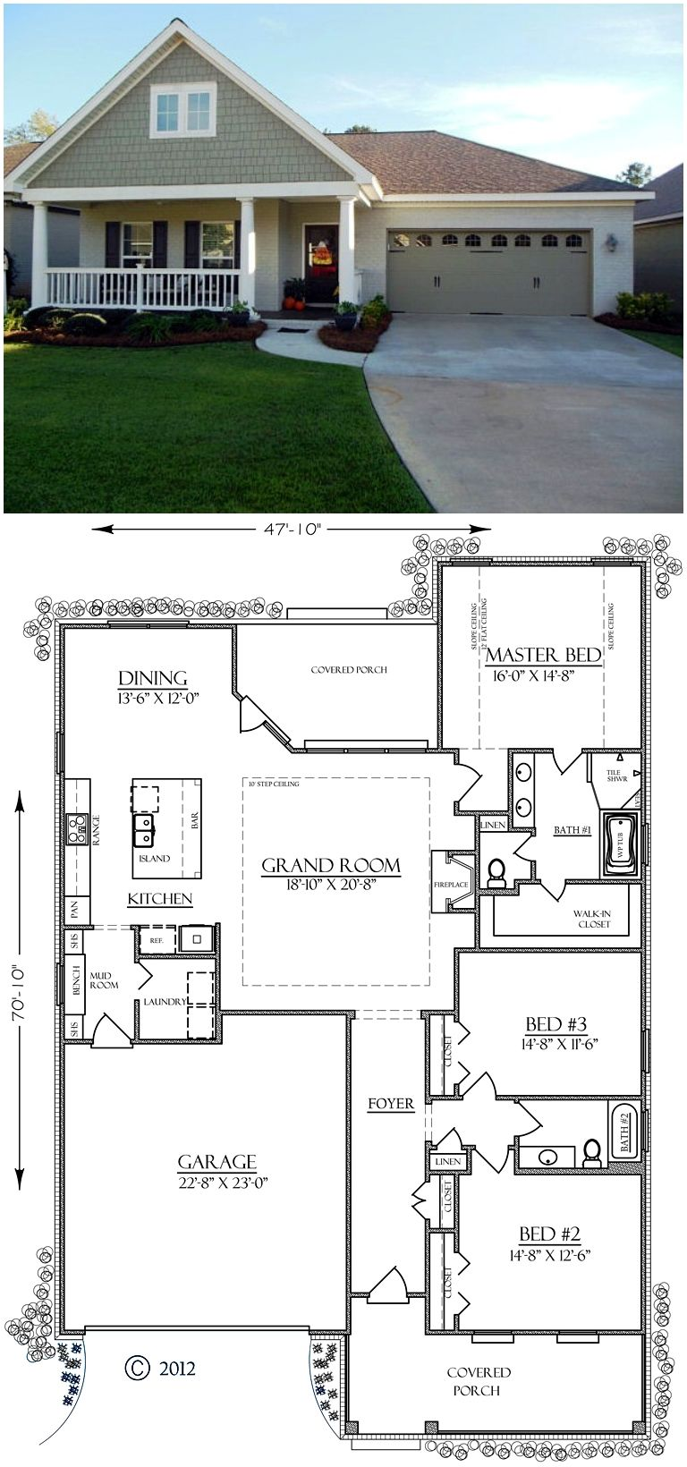 Southern Style House Plan 74755 With 3 Bed 2 Bath 2 Car Garage Craftsman House Plans House Plans House Layouts