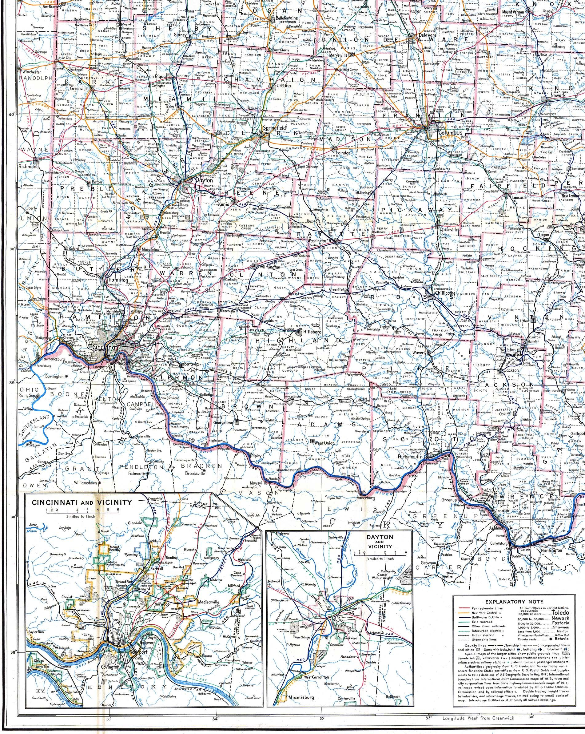 Southwestern Ohio Map.1918 Railroad Map Of Southwestern Ohio Hometown History History