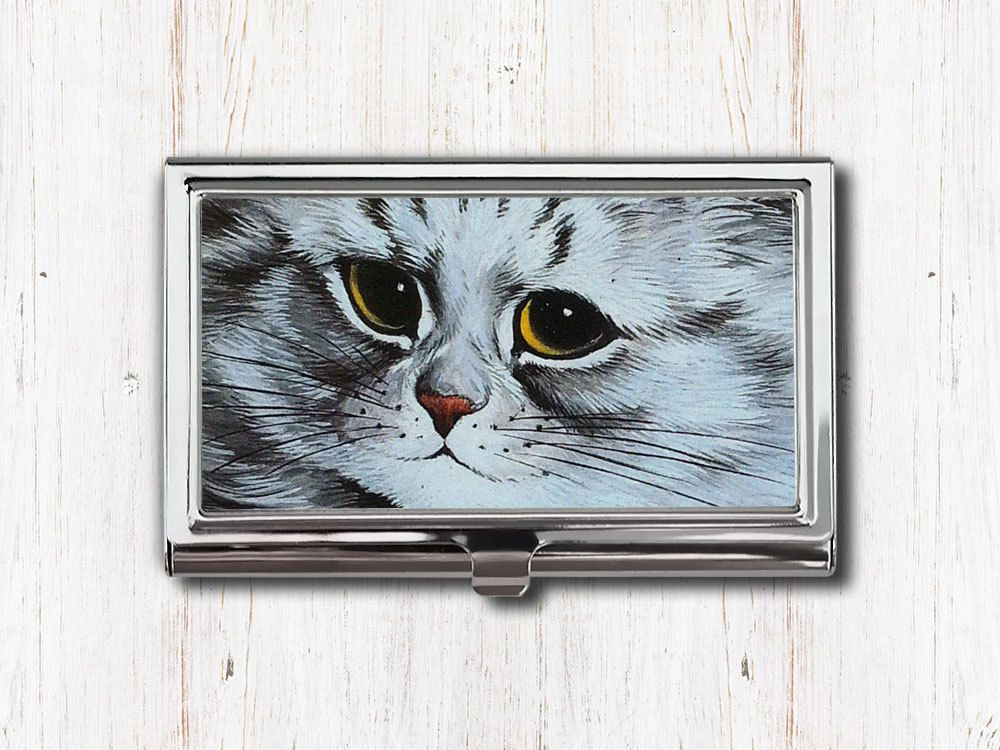 Gray Cat Business Card Case - Louis Wain - Silver Cat - Cat Face ...