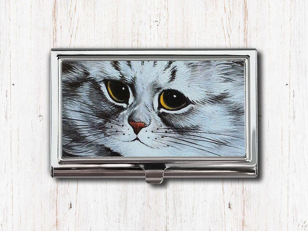 Gray cat business card case business card holder card case card gray cat business card case louis wain silver cat cat face cat colourmoves