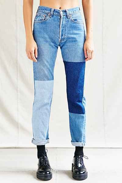 932099473 Urban Renewal Recycled Denim Panel Patch Jean - Urban Outfitters