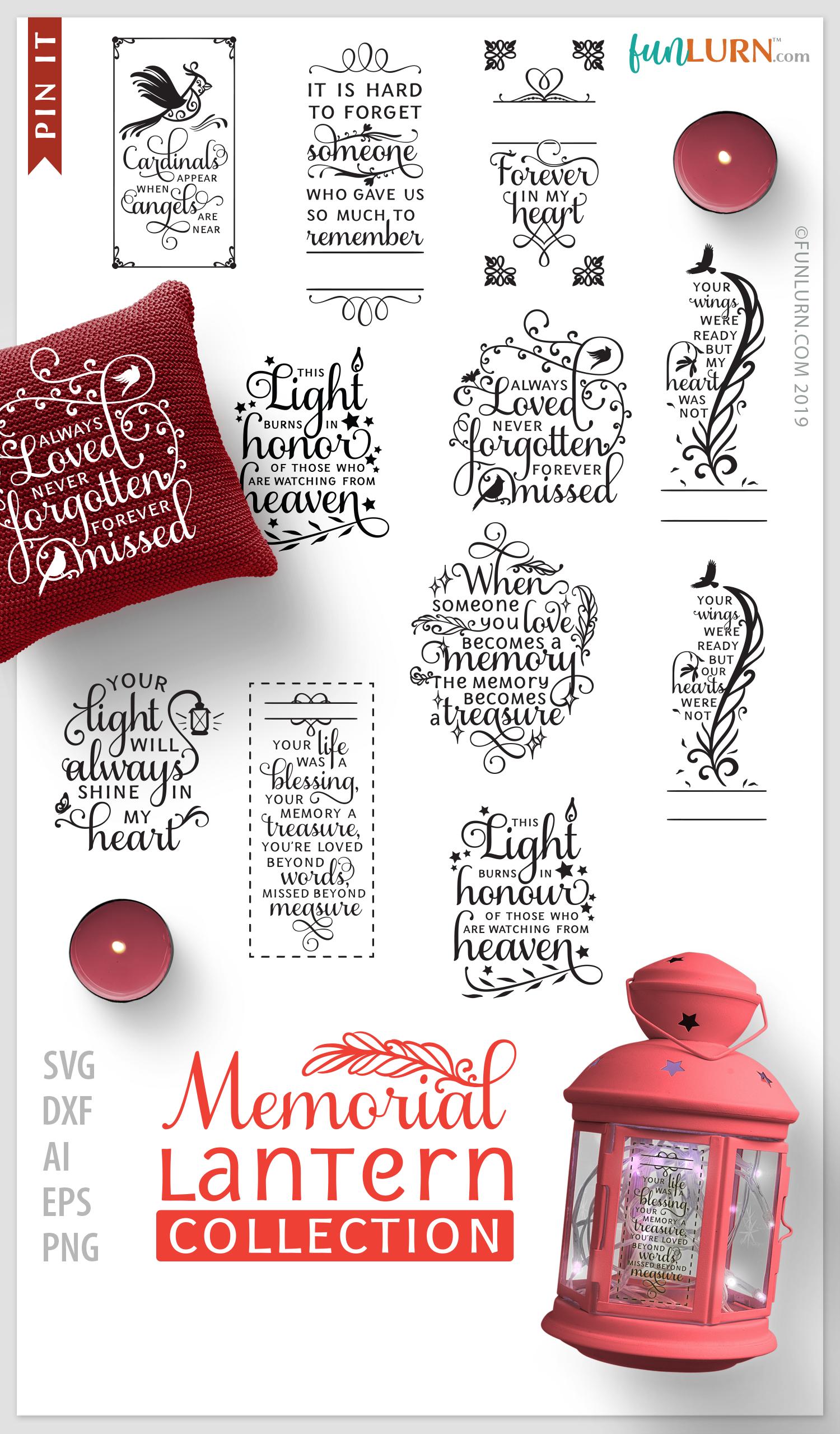 Memorial Lantern Collection Memorial Svg Bundle Funlurn Memorial Lanterns Christmas Lanterns Cricut Crafts