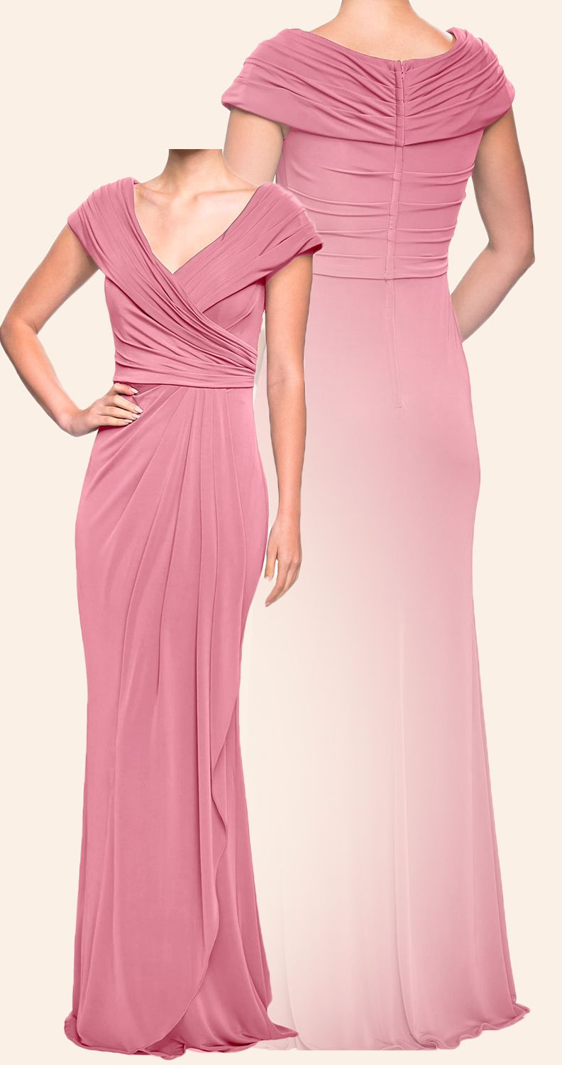 Macloth Cap Sleeves V Neck Jersey Long Mother Of The Brides Dress Dusty Rose Evening Gown Dusty Rose Dress Mother Of The Bride Dresses Dress Dusty