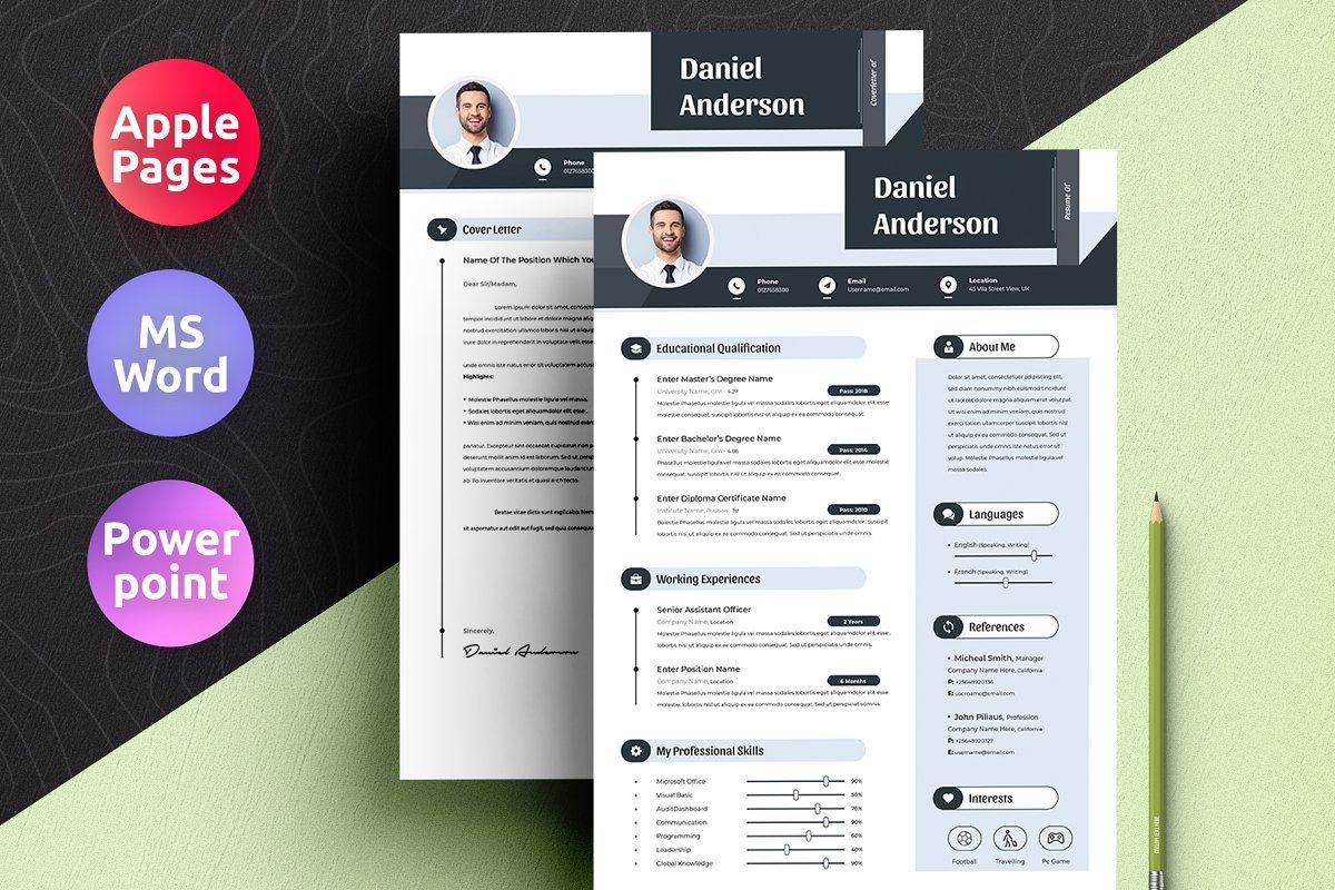 Resume Cv With Apple Pages & Ms Word in 2020 Ms word, Cv