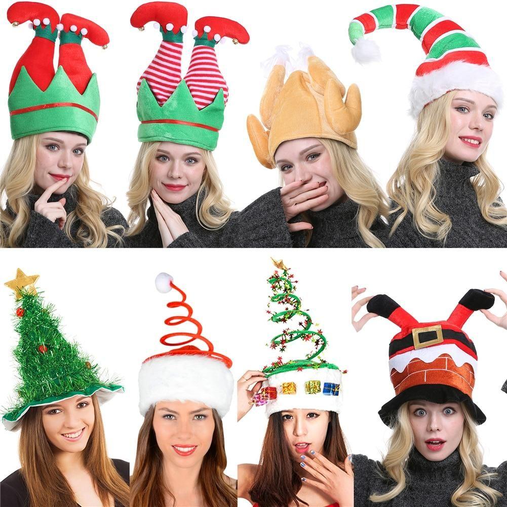 2020 Christmas Hat Plush Elf Santa Hat Ornament Decoration