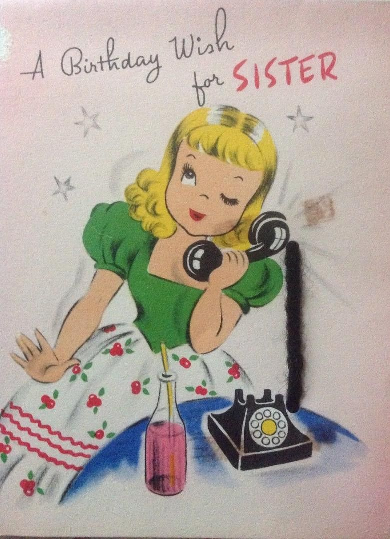 Vintage 1950s Birthday Greeting Card Blond Girl In Pony Tail On Telephone Soda Bottle