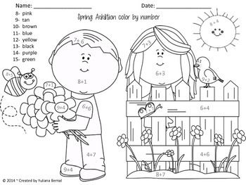 spring color by number addition spanish english freeee - Spring Pictures To Colour