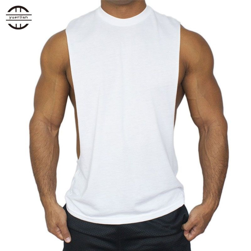 3b0c43c06790b4 YEL Hot Cotton Solid Coletes Fitness Training Shirts Gym Bodybuilding T-Shirt  Basketball Tank Top