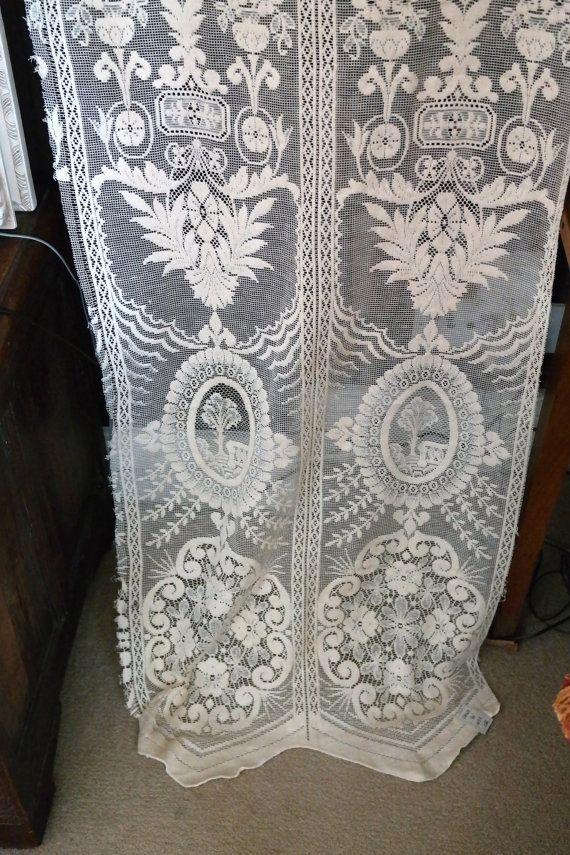 Antique Art Deco Narrow Ecru Cotton Lace Curtain Panel To Finish