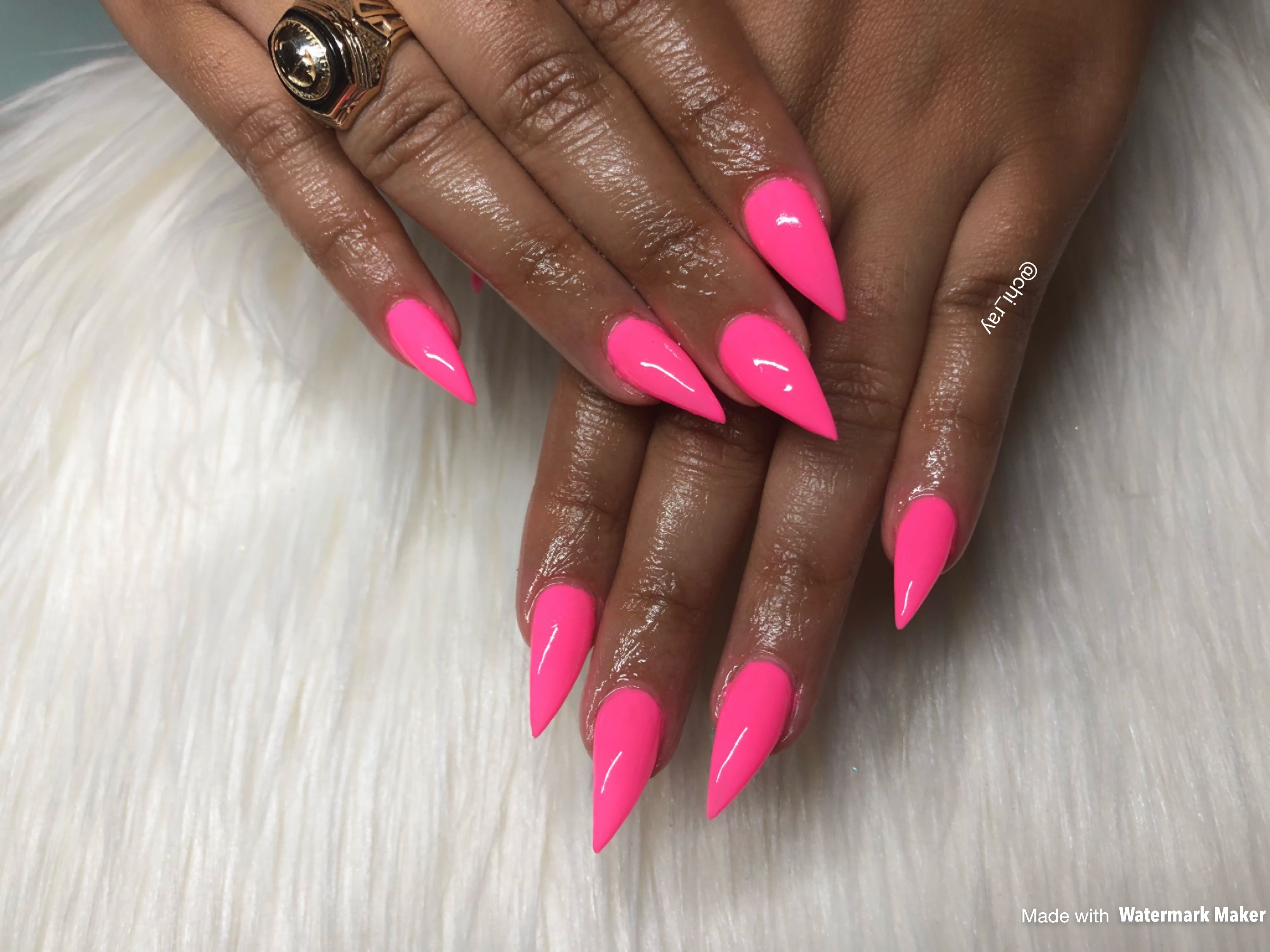 Hot Pink Stiletto Nails Pointed Summer Glam Paintobsessed Gel
