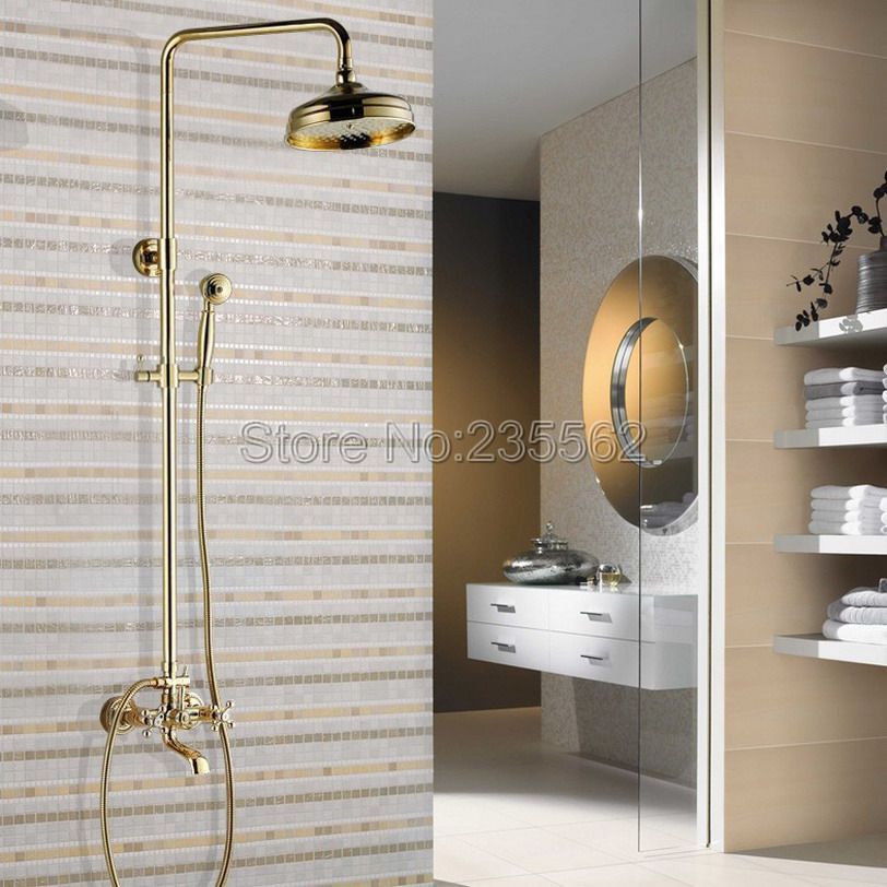 Gold Color Brass Wall Mounted Rain Shower Faucet Set With Hand Spray Tap 8 Inch Bathroom Shower Heads Lgf341 Shower Faucet Sets Shower Faucet Shower Mixer Taps