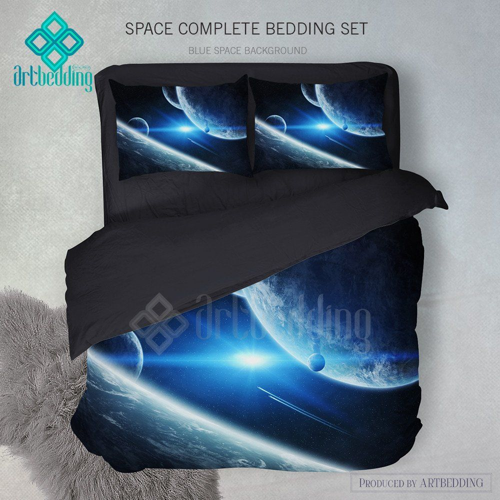 Earth from space bedding set, galaxy duvet cover