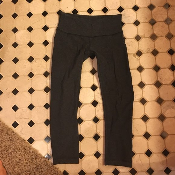 Lululemon Wunder under crop size 4 Great used condition. Small hole on butt but not noticeable  when wearing spandex under. Could be sewn lululemon athletica Pants