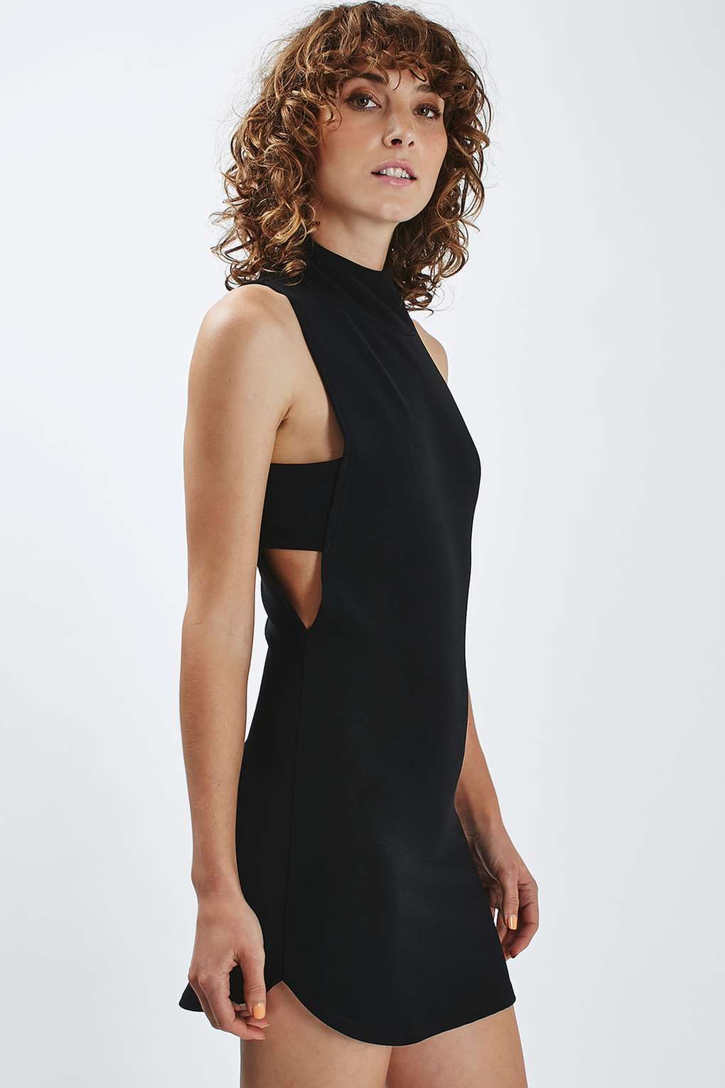 6927f0d923316 High Neck Side Split Mini Dress by Rare | Things to Wear | Dresses ...